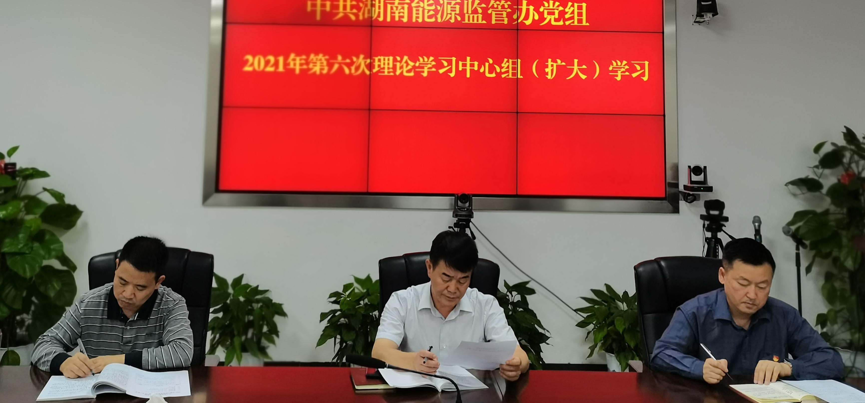 湖南能源监管办党组举行2021年第六次理论学习中心组(扩大)学习